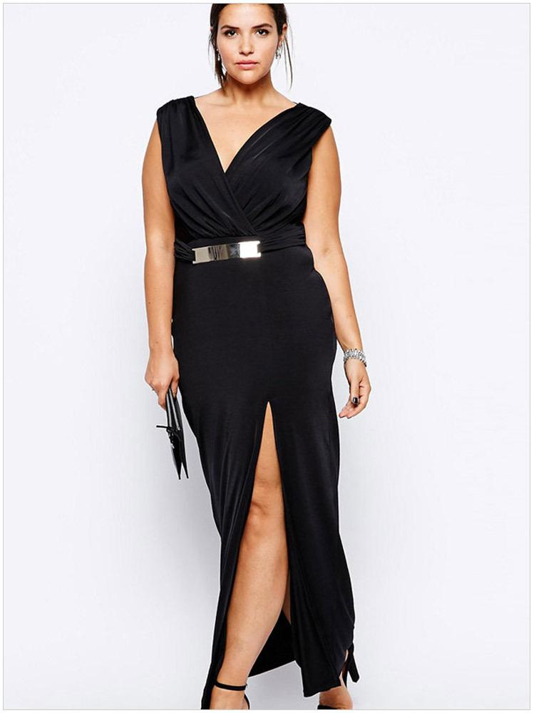 Black maxi dresses plus size
