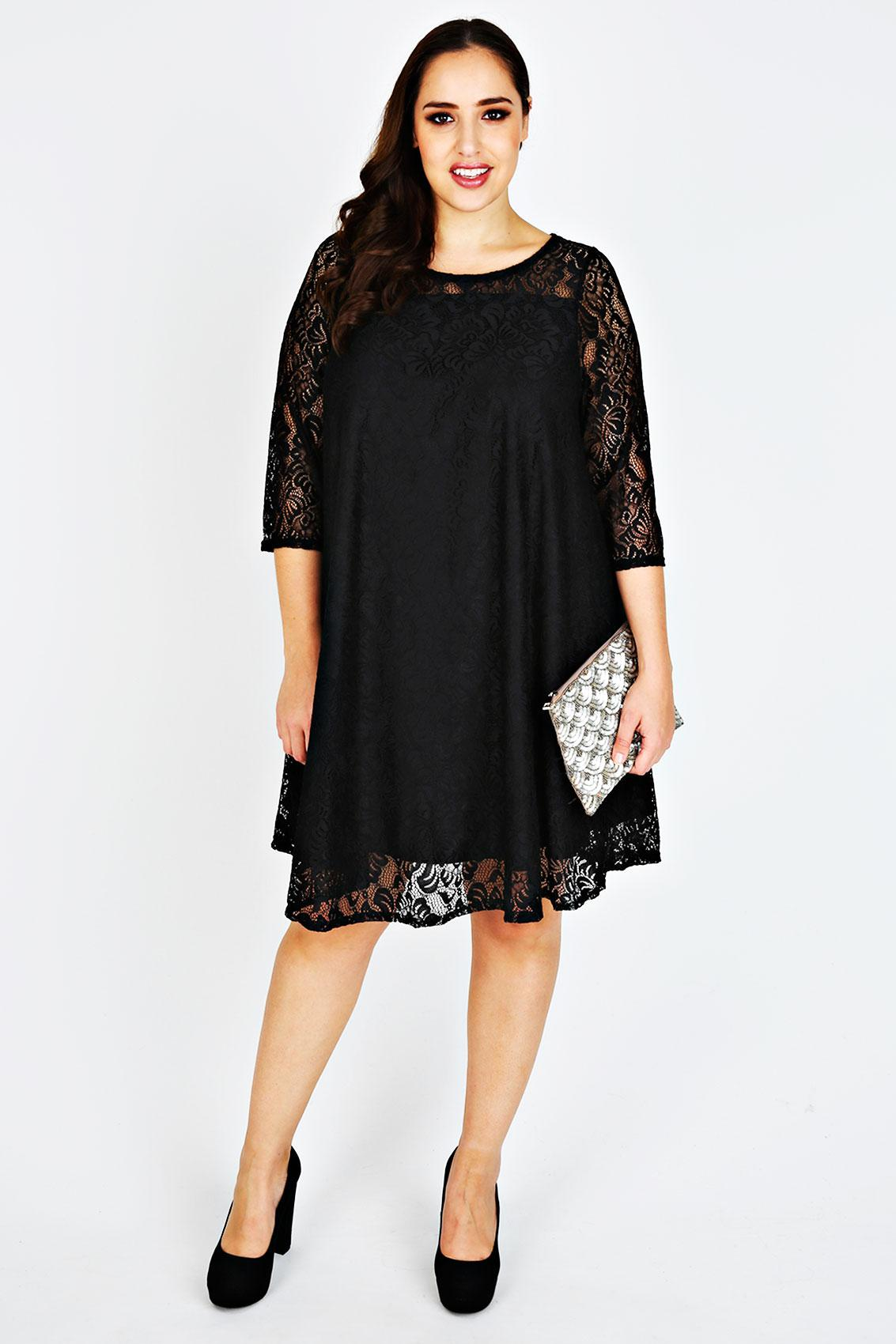 black lace dress plus size 3