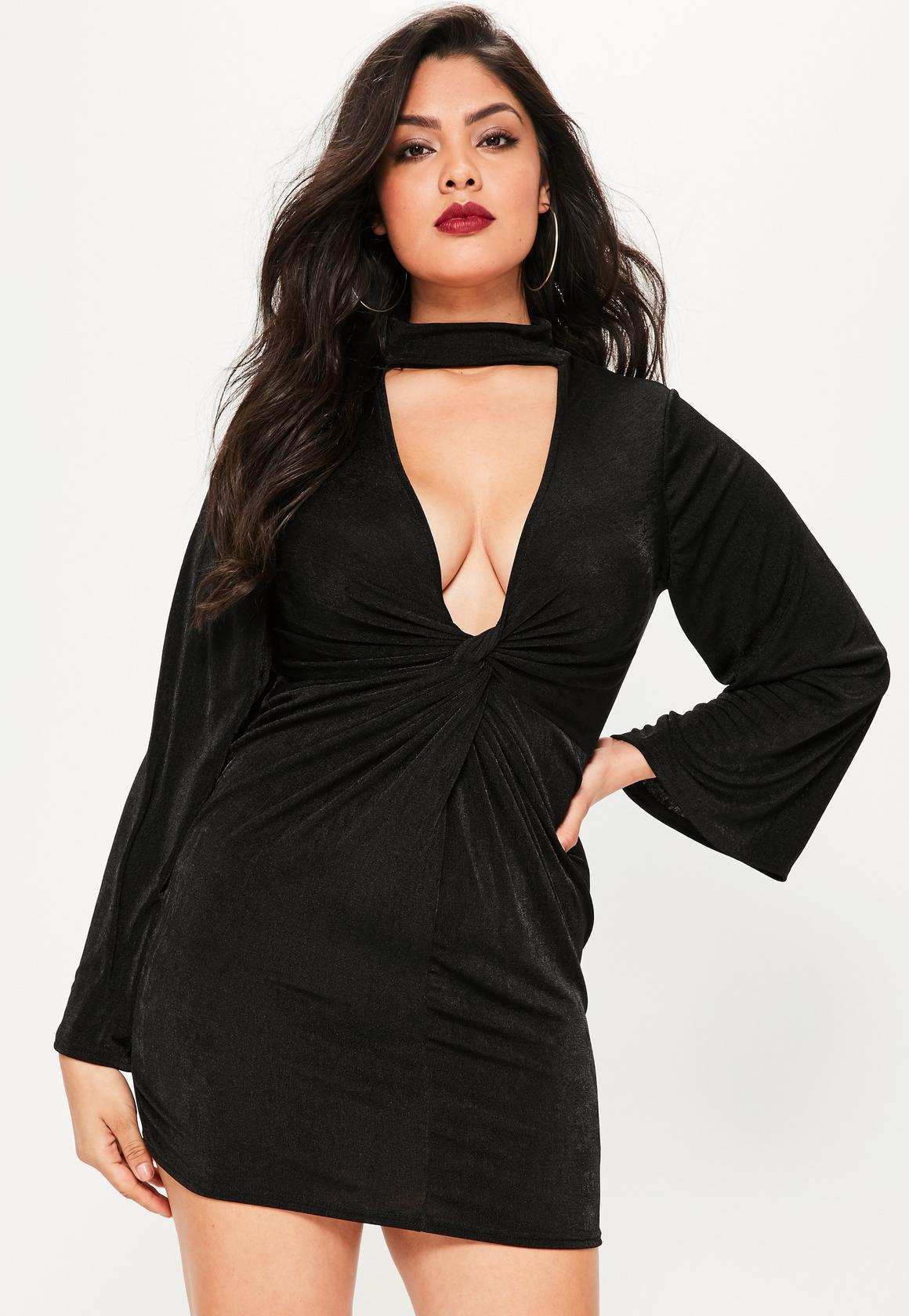 black mini dresses plus size