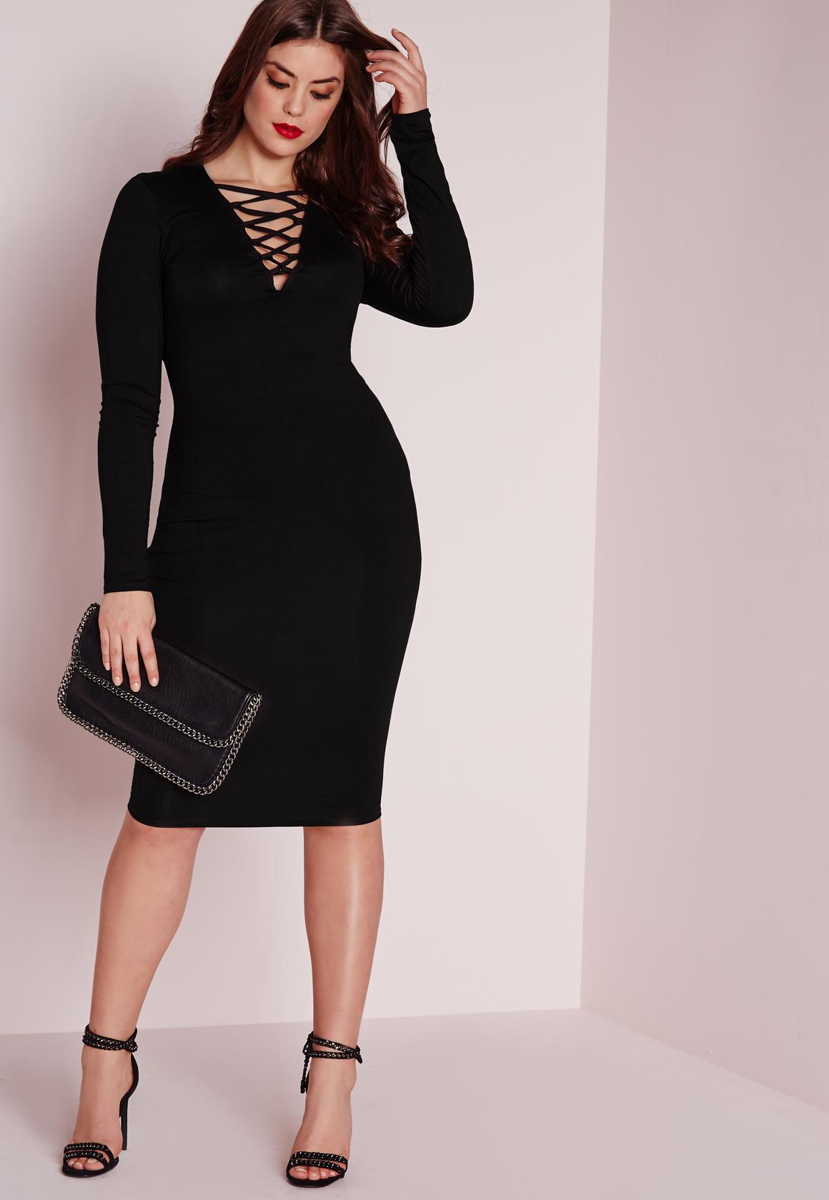 black plus size dress with sleeves 2
