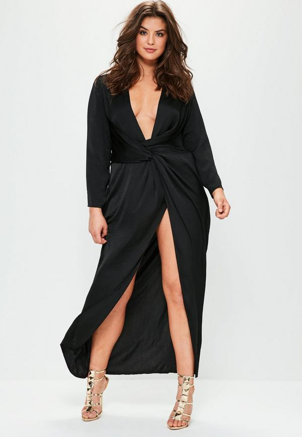 black plus size dress with sleeves
