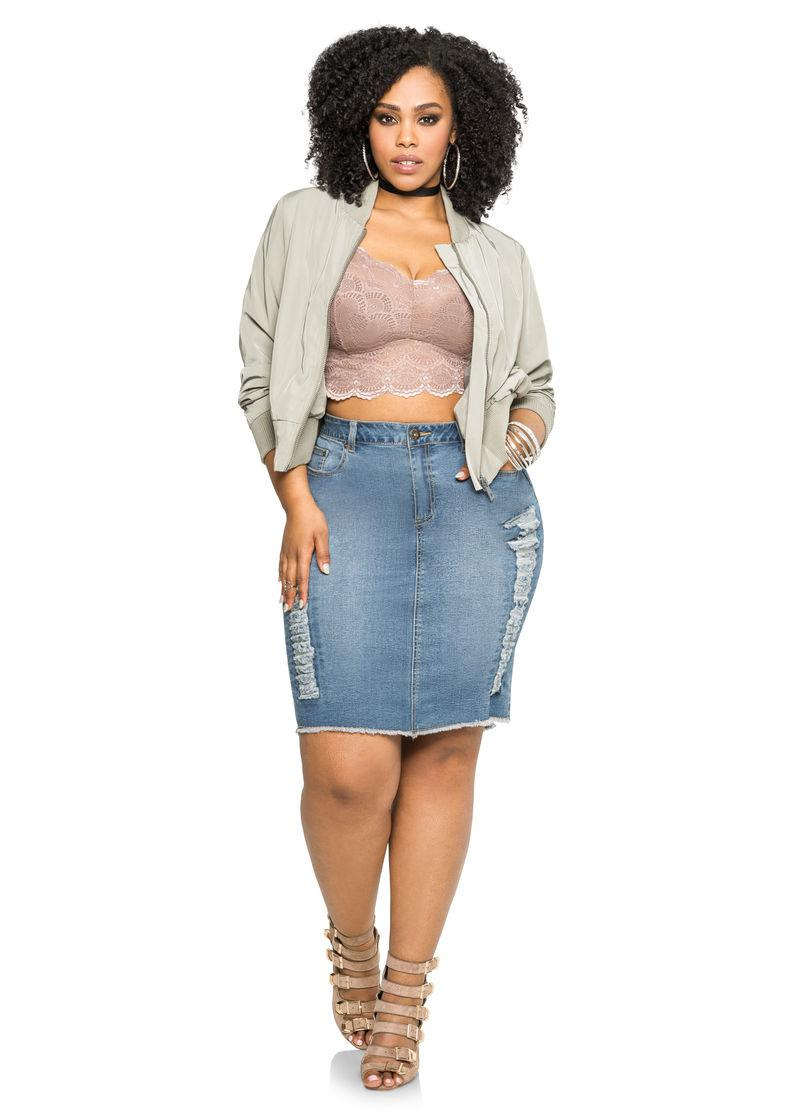 Plus Size denim pencil skirts