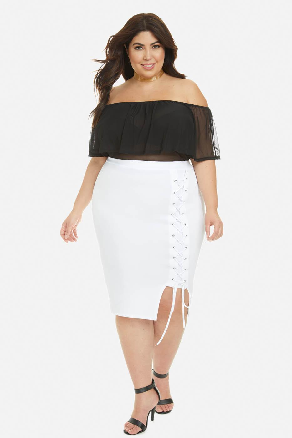Plus Size white pencil skirt