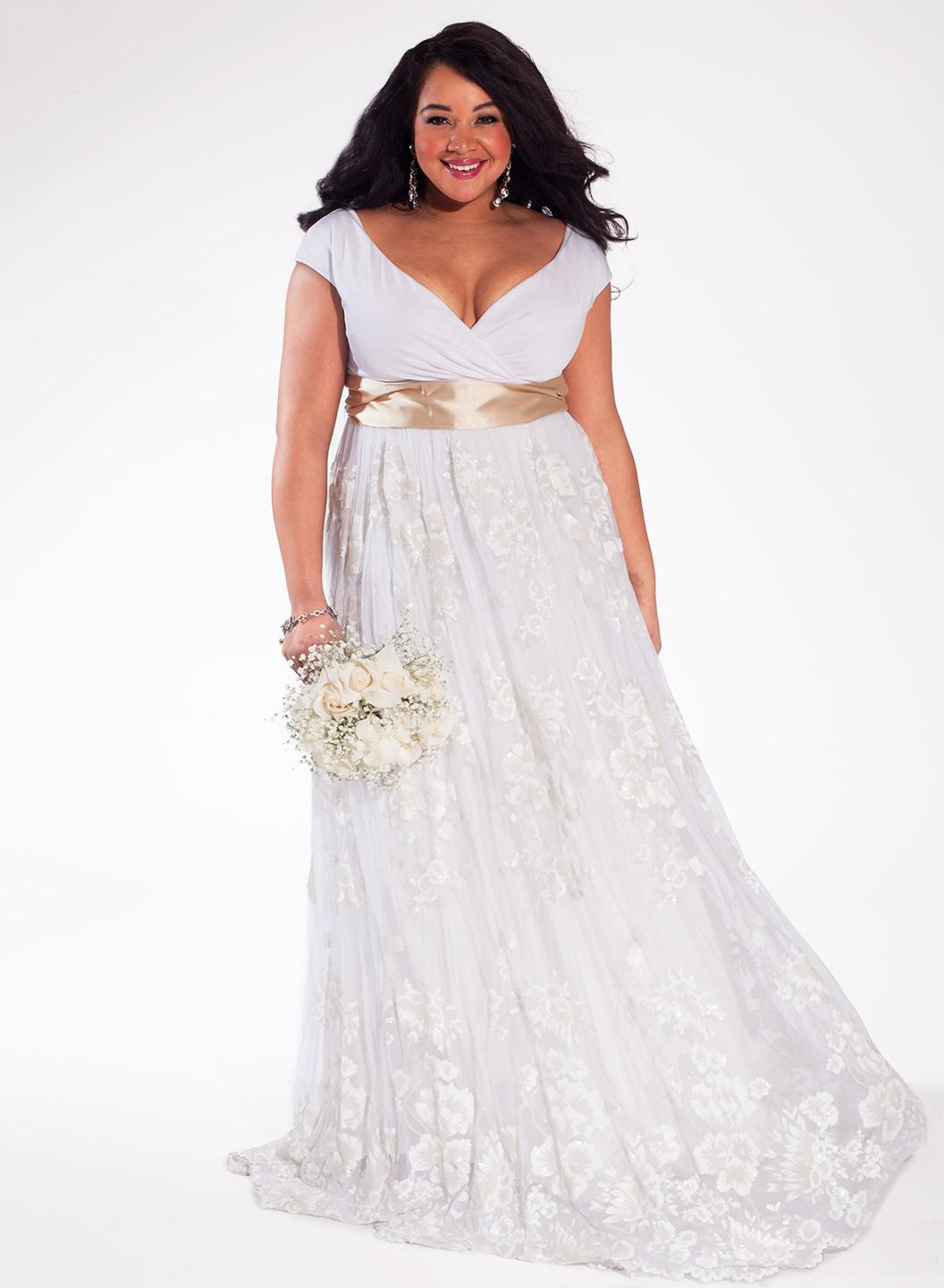 gold wedding dress plus size