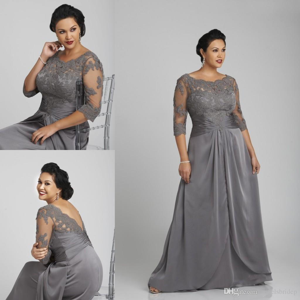 grey wedding dress plus size