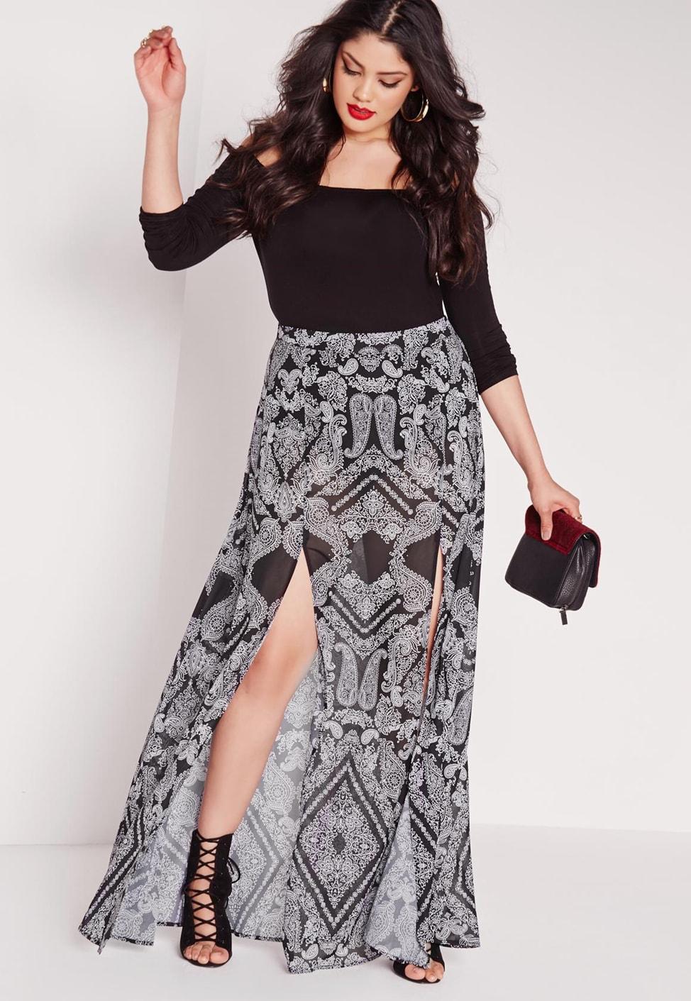 plus size maxi skirts